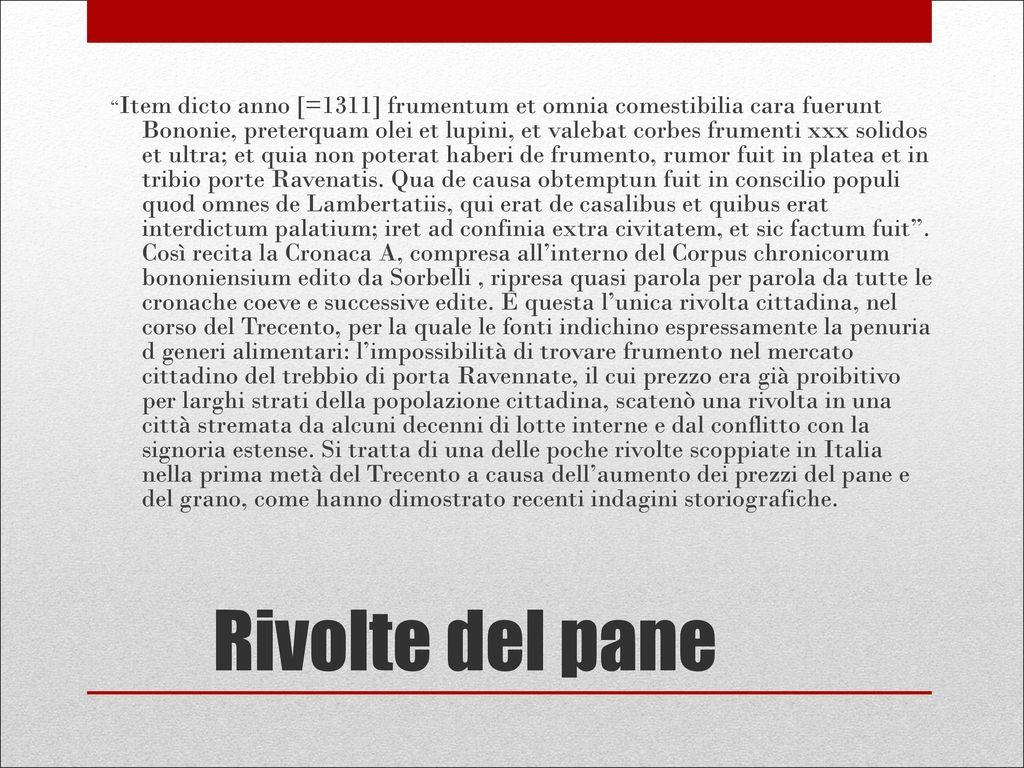 1311 Rivolte del pane: Bologna - ppt scaricare
